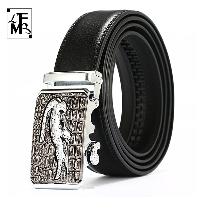 [LFMB] Leather Belts for Men 3.5cm Width Crocodile Brand Fashion Automatic Buckle Black Genuine Leather Belt Men's Belts Cow