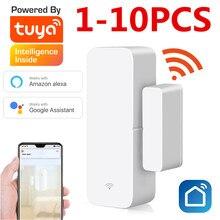 Capteur de porte intelligent Tuya, wi-fi, 1 à 10 pièces, détecteur d'ouverture/fermeture de porte, Notification, alerte, alarme, compatible avec Alexa Google Home