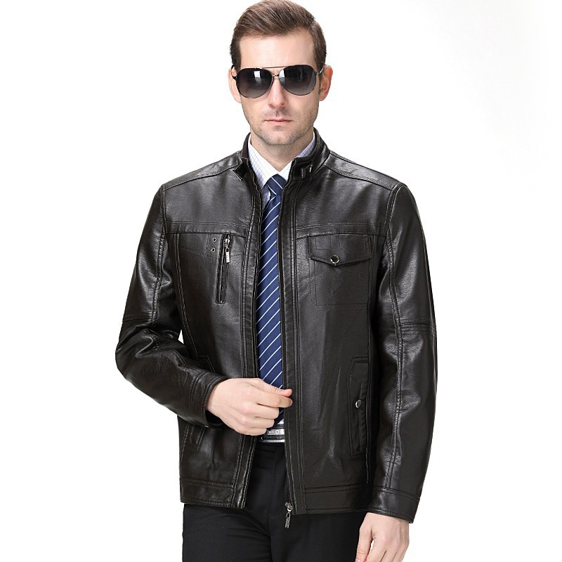 2019 Spring And Autumn New Style Leather Coat Genuine Leather High Men'S Wear-Leather Jacket Middle-aged Men Casual Stand Collar