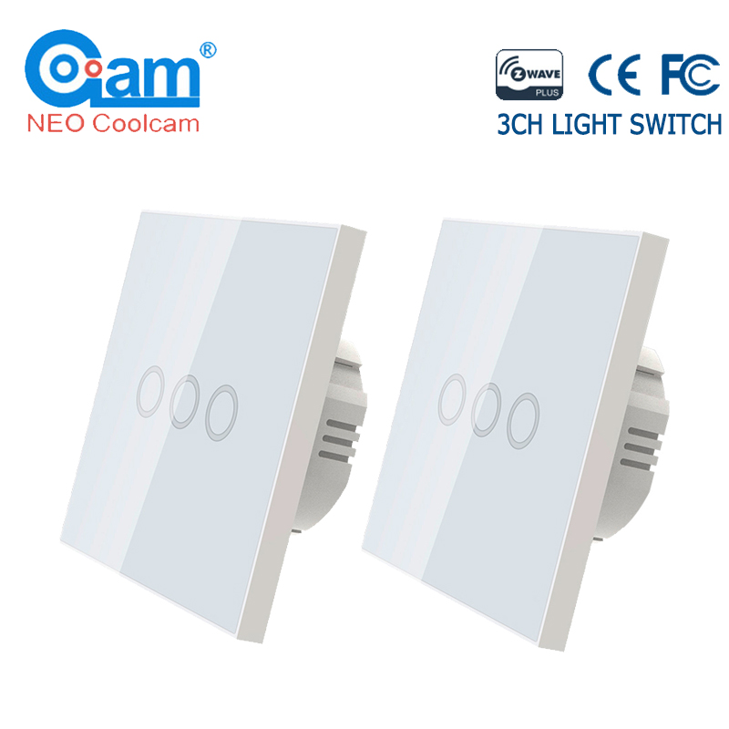 NEO COOLCAM 2PCS/lot Z-wave Plus EU 868.4MHZ Wall Light Switch 3 Gang Home Automation Wall Light Switch Touch Control
