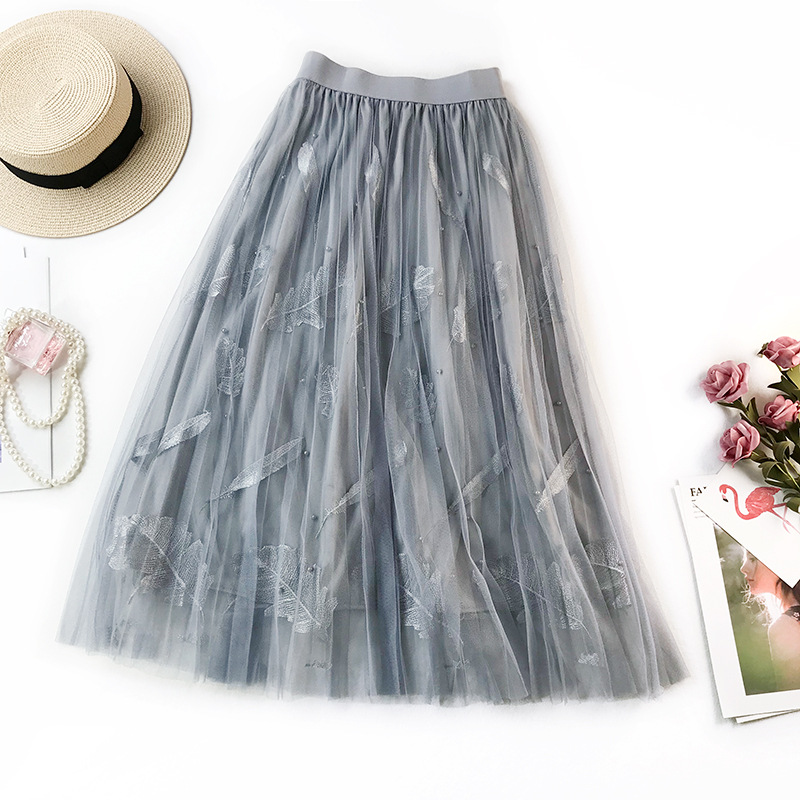 Fresh Retro Embroidered Gauze Skirt Women's Spring And Summer Mid-length Fairy First Love Skirt Sweet Tutu Feathered Dress