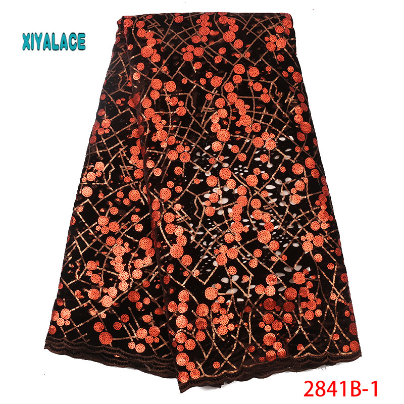 African Lace Fabric Nigerian French Lace 2019 Luxury High Quality Sequins Lace Fabric Fabric For Wedding YA2841B-1
