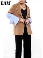 EAM-chaqueta holgada de manga larga con solapa nueva para mujer, Blazer informal a rayas, color caqui, azul, talla grande, primavera y otoño, 2021, JI8250