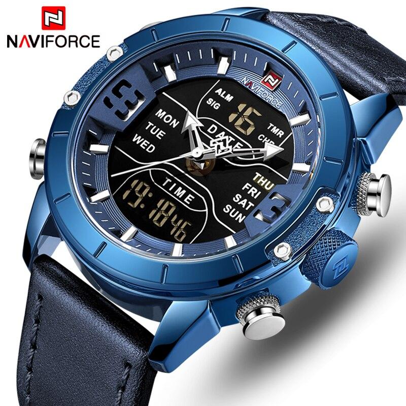 NAVIFORCE Men WristWatch Luxury Brand Blue Waterproof Quartz Men's Watches Leather Analog Sport Digital Clock Relogio Masculino