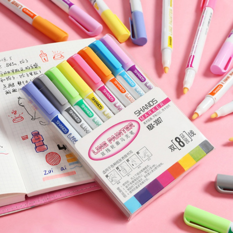 Colorful Marker Pen Gift Card Writing/Drawing Double Line Outline Pen 9 Color Handwriting Pen Fine Liner Marker Scrapbooking Pen