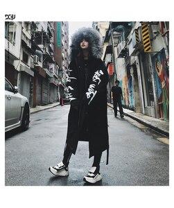 Image 2 - Winter hip hop fashion long fur collar coat 2018 cotton jacket Hoodies clothing Street wear outerwear & coats warm thick