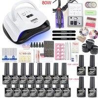 Manicure Nail Set 80W/36 UV LAMP Set Electric Manicure Nail Drill Extension Gel Nail Art Manicure Sets Nail Extension Kit