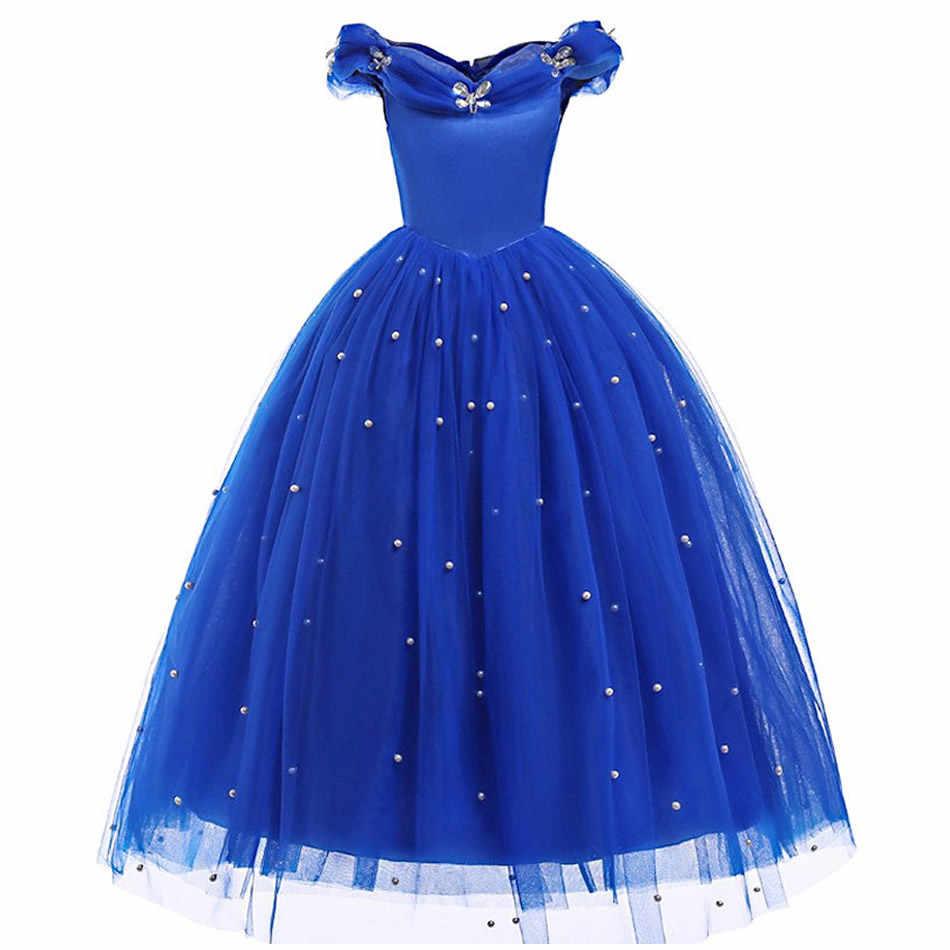 רויאל כחול סינדרלה בנות להתלבש נסיכת תלבושות שרוולים לנשף שמלות ילדים מסיבת קוספליי ליל כל הקדושים יום הולדת שמלות בד
