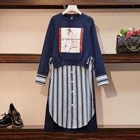 M 4XL Plus Size Women Cotton Casual Dress Autumn 2019 Long Sleeve Sweatshirt Patchwork Striped Shirt Asymmetrical Dresses