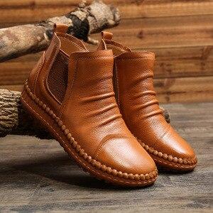 Image 5 - MVVJKE Botas planas de cuero genuino para mujer, zapatos informales Vintage, diseño de marca, Retro, hechos a mano, E006