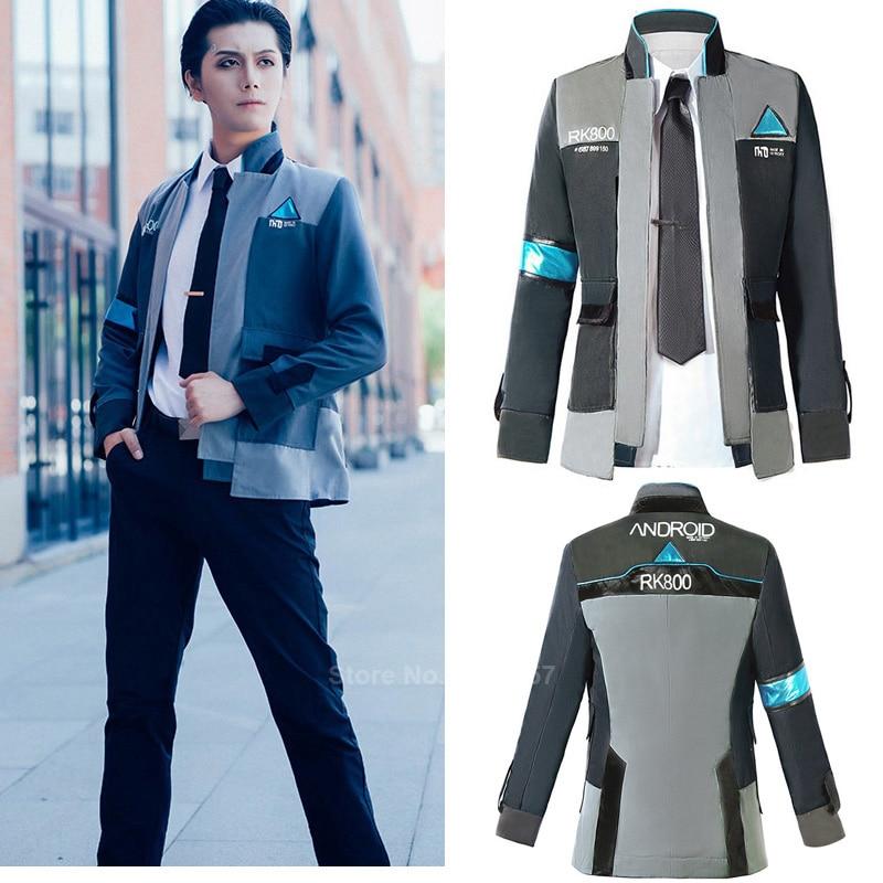 Halloween Game Detroit Become Human Connor Cosplay Costume For Men Carnival Party Fancy RK800 Uniform Markus Kara Jacket Tie Set