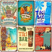 Aloha Tiki Bar Poster Tin Sign Vintage Beach Party Bar Pub Wall Decor Metal Plate Retro Hawaii Surfing Plaques