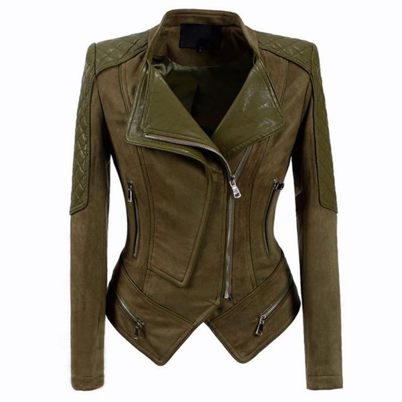 2018 Autumn Winter Women   Leather   Jacket Genuine Pig   Suede   Vintage Moto Jacket Zippers Long Sleeve Ladies Coat Plus Size China