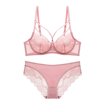 Women's Underwear Sheer Sexy Lingerie Set Plus Size Lace Strappy Cup Unline Underwire Summer Bra Set Transparent  For Women half cup bra with underwire back breast adjustable lingerie sexy lace mesh contrast bra set for women