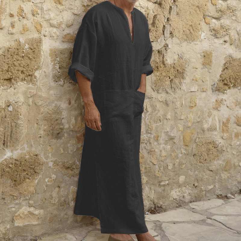 MoneRffi 新男性ドレス服、伝統的なメンズエスニックローブの長袖ルーズヴィンテージドレスカフタン elbise 服