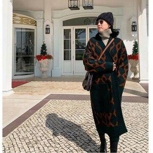 Image 4 - 2019 kış rahat kaşmir trençkot kadın karikatür vinçler desen hırka açık dikiş örgü uzun dış giyim büyük boy