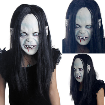 Halloween Sadako Mask Props Grudge Ghost Hedging Zombie Mask Realistic Masquerade Halloween Mask Long Hair Ghost Scary Mask image