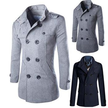 Stylish Men Winter Stand Collar Long Sleeve Double-breasted Woolen Trench Coat Men 2019 Spring New Business Casual Trench Coat