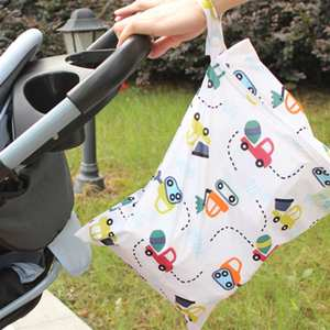 Diaper Handbag Baby Stroller Waterproof Zipper Cartoon Print with Cars Reusable