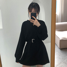 spring autumn women long sleeve dress korean style Casual dress ladies solid color loose t shirt dress women with belt