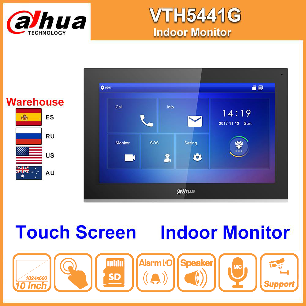 Original Dahua VTH5441G Indoor Monitor 10inch Touch Screen Color With Alarm Work With IP Video Intercom IPC Replace VTH1660CH