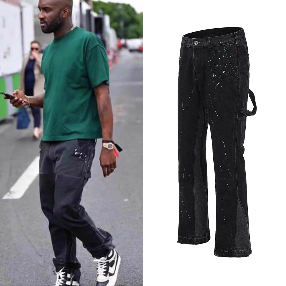 Urban Streetwear Flare Pants Black Wide Leg Jeans Hip Hop Splashed Ink Trousers Men Patchwork Slim Fit Denim Pants for Men