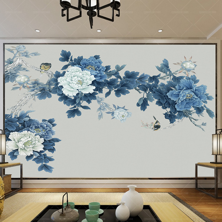 Chinese Style Hand-Painted Fine Brushwork Flowers And Birds Traditional Chinese Painting Peony Blossoming Wall Blue Peony 3D Wal
