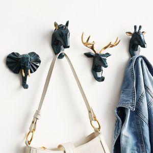 Hayvan kafası duvar kanca anahtar tutucu duvar Décor at fil geyik kafası anahtarlık ev odası ev dekor şemsiye çanta askısı
