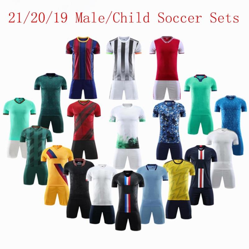 21/20/19 Male & Child 7# 9# 18# Soccer Sets (No Badge), Custom Youth Football Jerseys Short, Futbol Kit Soccer Training Uniforms