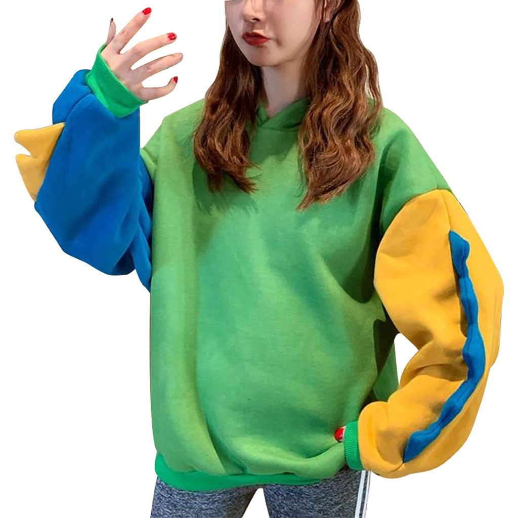 Women Ladies Casual Long Sleeve Sweatshirts Color Block Dinosaur Splice Fashion Hoodie Tops