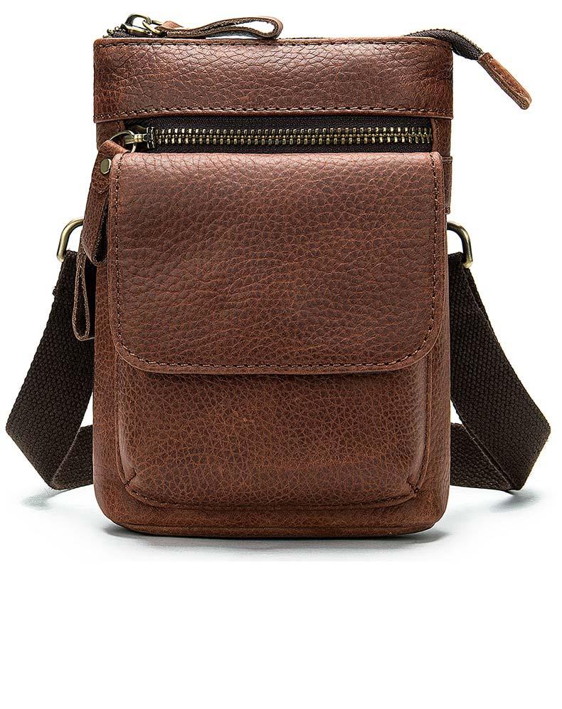 Men Shoulder Bag Top Layer Horse  Leather Male Messenger Black Bags Slung Waterproof Sports Trend Business Small Flat Phone Bag