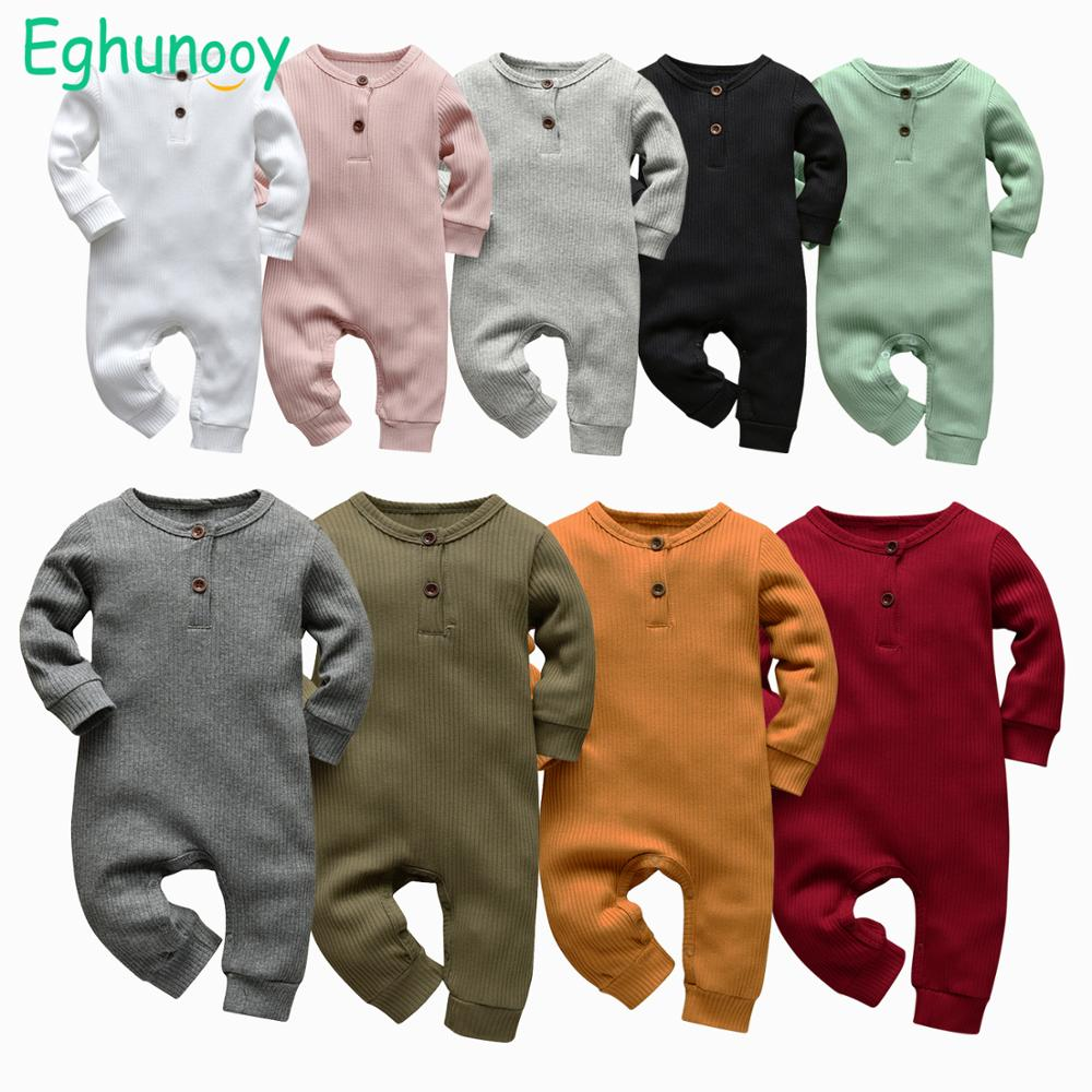 9 Color Newborn Infant Baby Boys Girls Romper Cotton Knitted Ribbed Long Sleeve Solid Jumpsuit Toddler Clothes Outfits