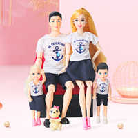 Doll Set Family 4 People Baby Toy Suit 1 Mom Dad Son Daughter Pet Dog FashionKid Toys For Children With Accessories