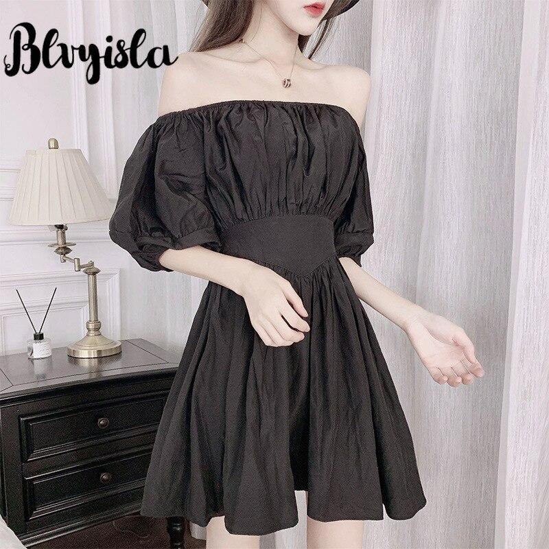 Blvyisla solide noir épaule dénudée à manches bulles taille haute mince Mini robe petites robes Slim d'asie