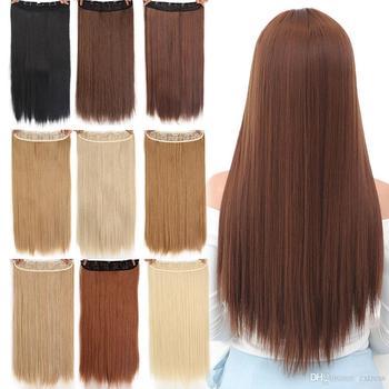AIYEE 24 Zoll 60cm 5 Clips Gerade Synthetische Haarteil Synthetische Haar Herbst Zu Hüften Clip In Stück Haar Extensions 3/4 kopf