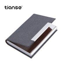 купить TIANSE PU Leather Business Card Holder Stainless Steel ID Credit Card Wallet Luxury Brand Pocket Case Silver Aluminium Case дешево