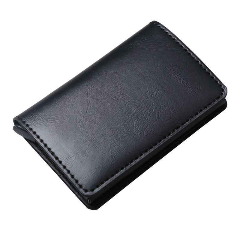 2019 Anti-theft Для мужчин Винтаж держатель кредитной карты блокирование Rfid Бумажник кожаный унисекс информационной безопасности Алюминий Металл Кошелек