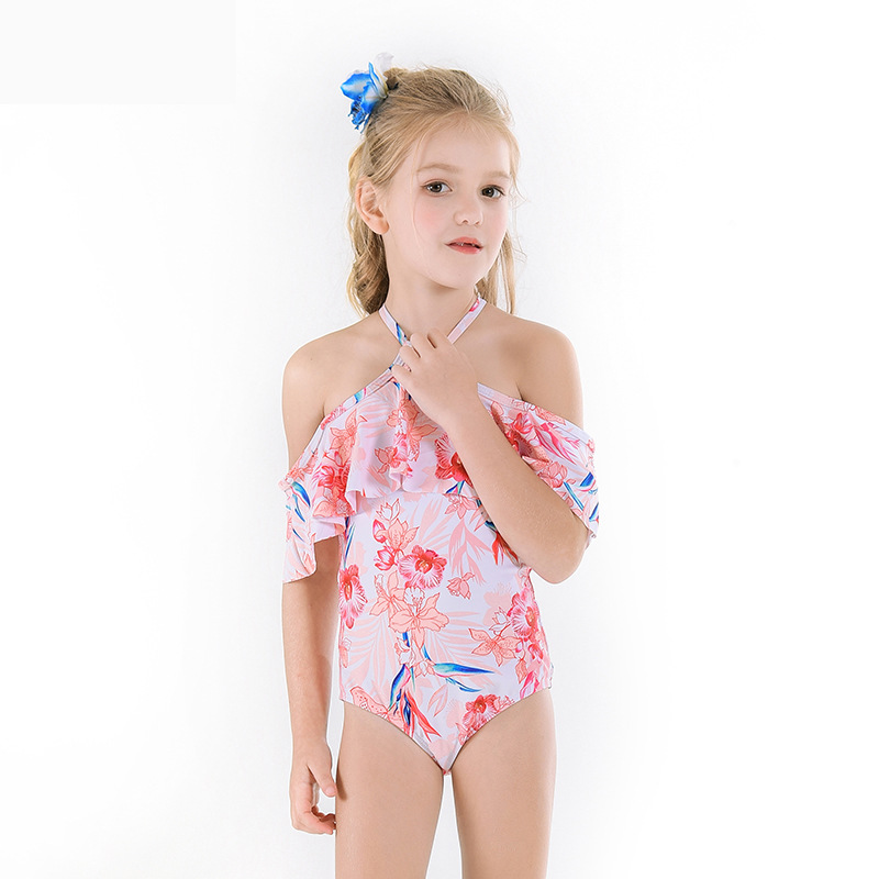2019 Europe And America Cash Hot Sales KID'S Swimwear One-piece Large Flounced Backless Strap Adjustable Floral-Print GIRL'S Swi