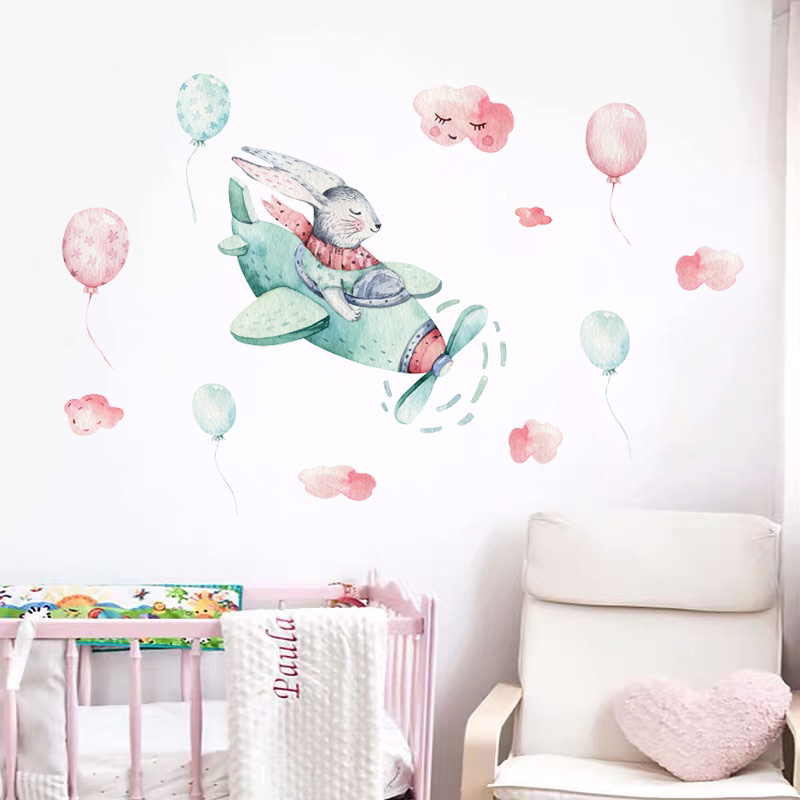 Cute Rabbit on Airplane Wall Stickers Watercolor Hand Drawn Wall Decals for Kids Boy Room Bedroom Baby Nursey Home Decoartion image