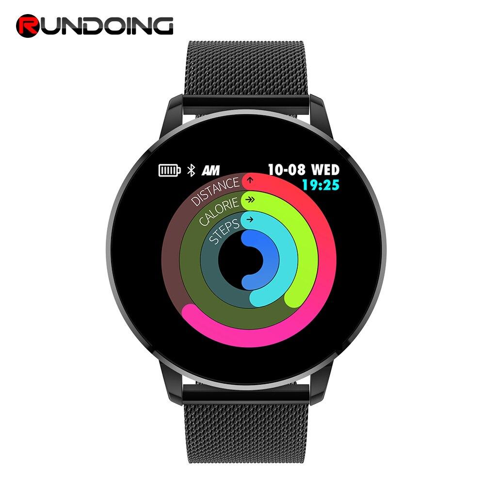 Rundoing Q8 Advanced 1.3 polegada tela colorida smart watch heart rate monitor de fitness rastreador smartwatch men moda PK V11