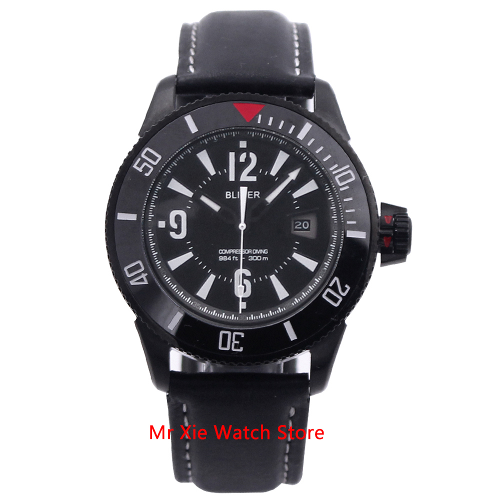 Bliger 43mm Automatic Mechanical Watch Men Luxury Brand Luminous Waterproof PVD Case Leather Strap Calendar Wristwatches Men