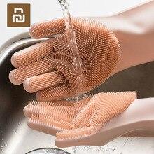 4 cores youpin magia silicone luvas de limpeza isolamento antiderrapante dishwashing luva dupla face usar luvas para cozinha em casa