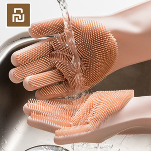 Image 1 - 4 cores youpin magia silicone luvas de limpeza isolamento antiderrapante dishwashing luva dupla face usar luvas para cozinha em casa