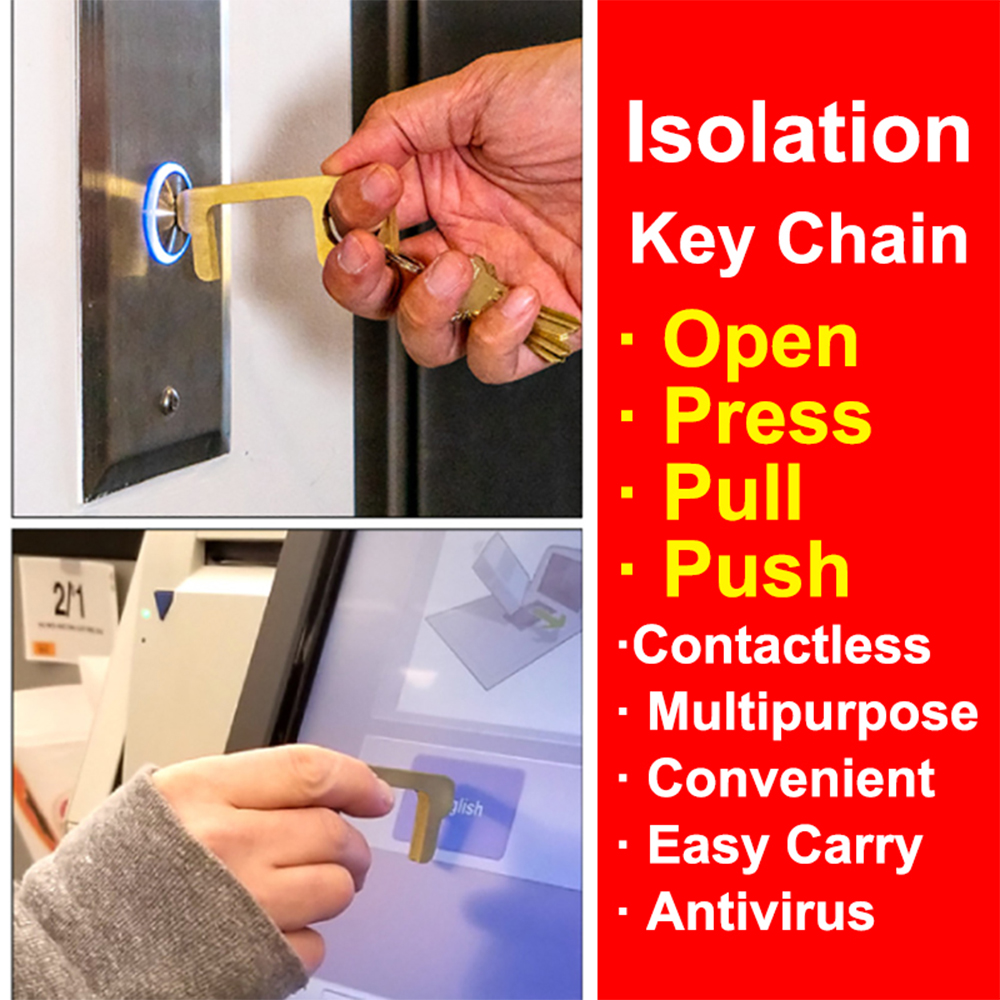 5Pcs Door Opener Antibacterial And Anti-Epidemic Antivirus Brass Contact Preventing Protective Isolation Key Security Key Chain