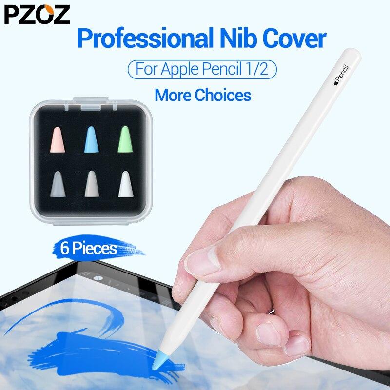 PZOZ 6 Pcs For Apple Pencil 1 2 Tablet Stylus Touch Pen Nib Case Soft Silicone Protective Case For Apple Pen Case Touch Cover