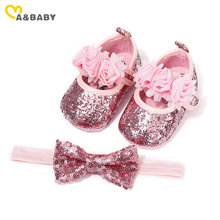 Ma&Baby 0-18M Birthday Infant Newborn Baby Girls Shoes Bowknot Sequins Princess Shoes First Walkers + Hairband