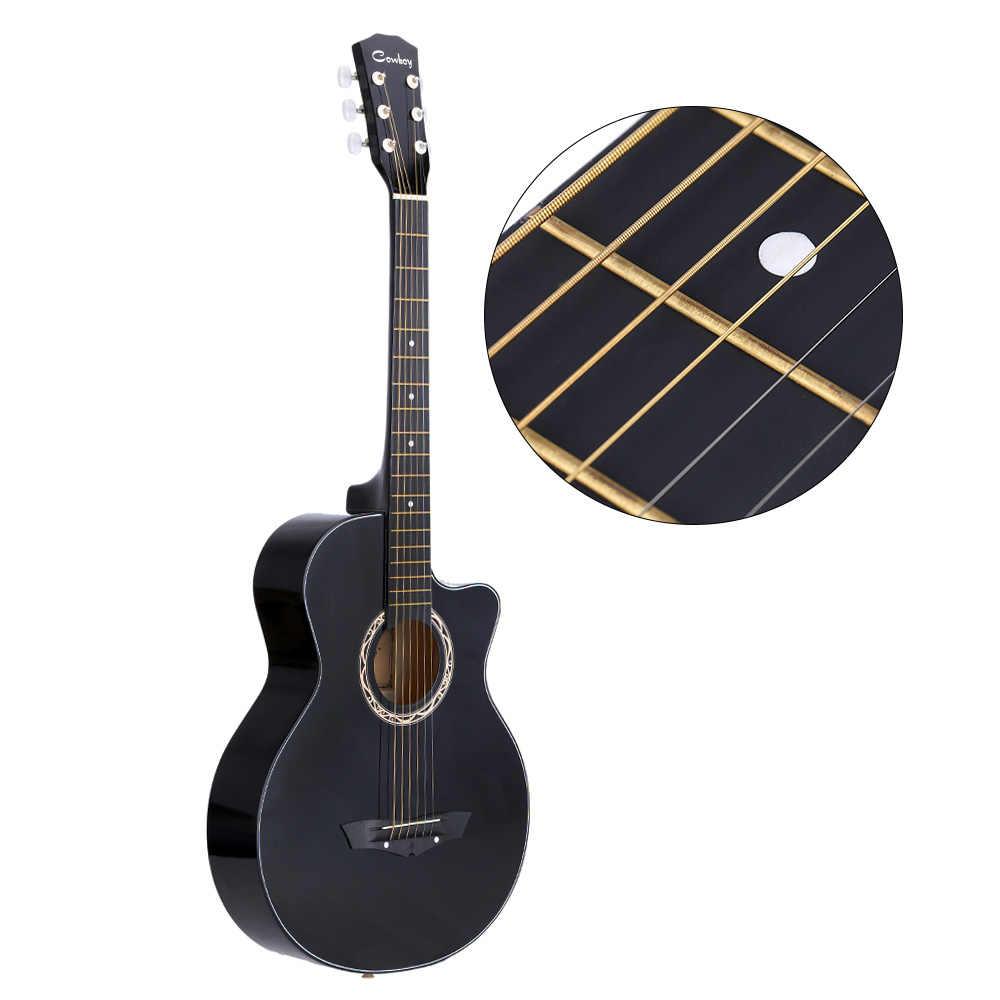 """Kualitas tinggi Gitar 38 """"Gitar Guitarra 38 inci Gitar Rakyat Akustik Basswood 6-String Gitar Hadiah untuk Siswa pemula Warna Hitam"""