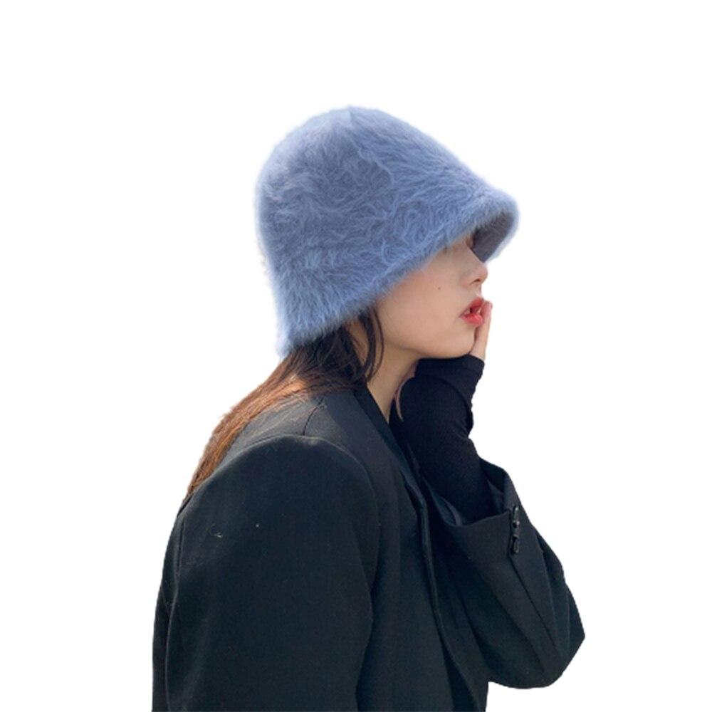 Basin Bucket Hat Fisherman's Hat Hat Retro Solid Color Wool Women's Winter Fashion