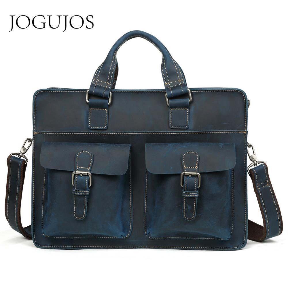 JOGUJOS Vintage Crazy Horse Leather Men Briefcase Genuine Leather Men's Briefcase Crossbody Shoulder Bag Business Office Handbag
