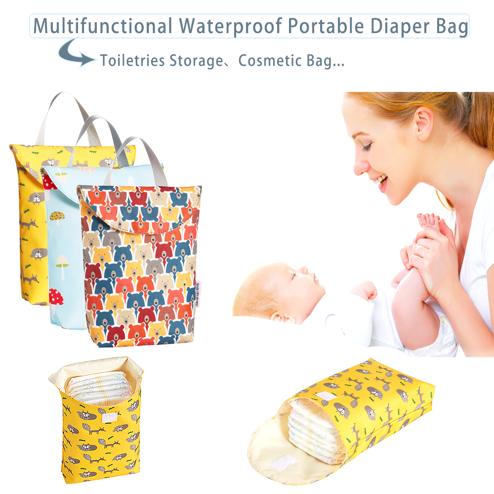 Mummy Bag Multifunctional Baby Diaper Reusable Waterproof Patter Prints Wet/Dry Bag Mummy Storage Bag Travel Nappy Bag 1 PC